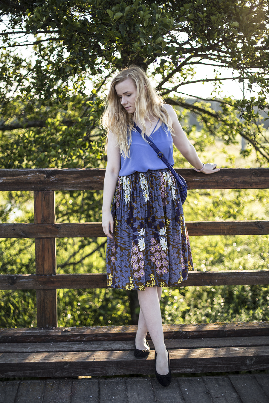 blue, flower skirt, zaful.com, zafulgirl,zafulskirt