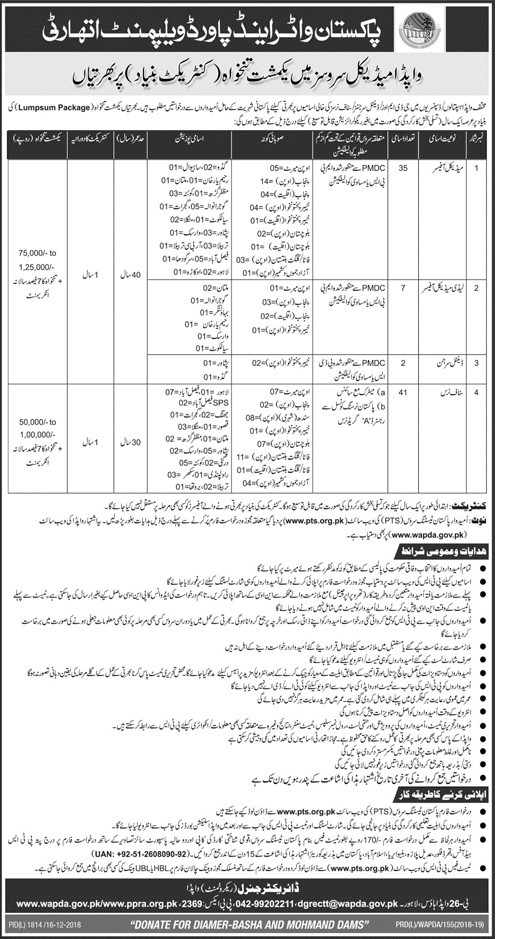 Wapda Jobs 2019 - Wapda Doctors and Staff Nurses Latest Jobs Download Application Form