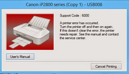 Cara Memperbaiki Printer Canon Pixma IP 2870 Error 6000