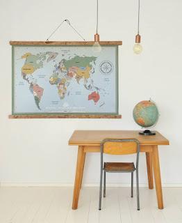 poster wereldkaart vintage.