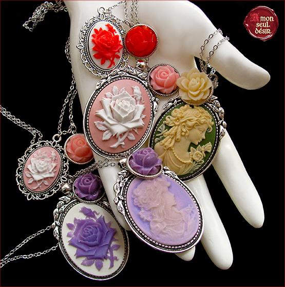 collier camée victorien fleur romantique steampunk