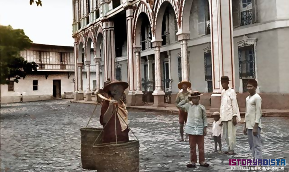 Filipino children playing at Hotel de Oriente (c1900s)