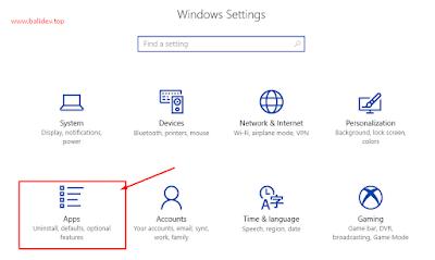 Tampilan Settings Windows 10