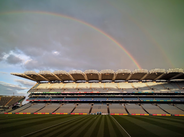 Rainbow over Croke Park in Dublin, Ireland