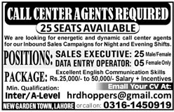 New Jobs in Call Center Agent ,Sales Exertive, Data Entry Operator
