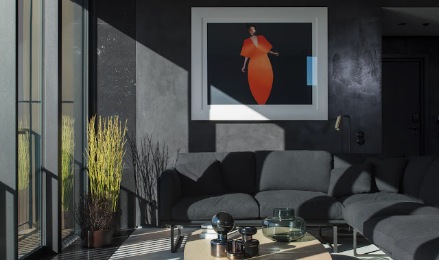 Dark grey walls and elegant modern design in lounge area at Six Hotel in Stockholm with artwork by Dawid