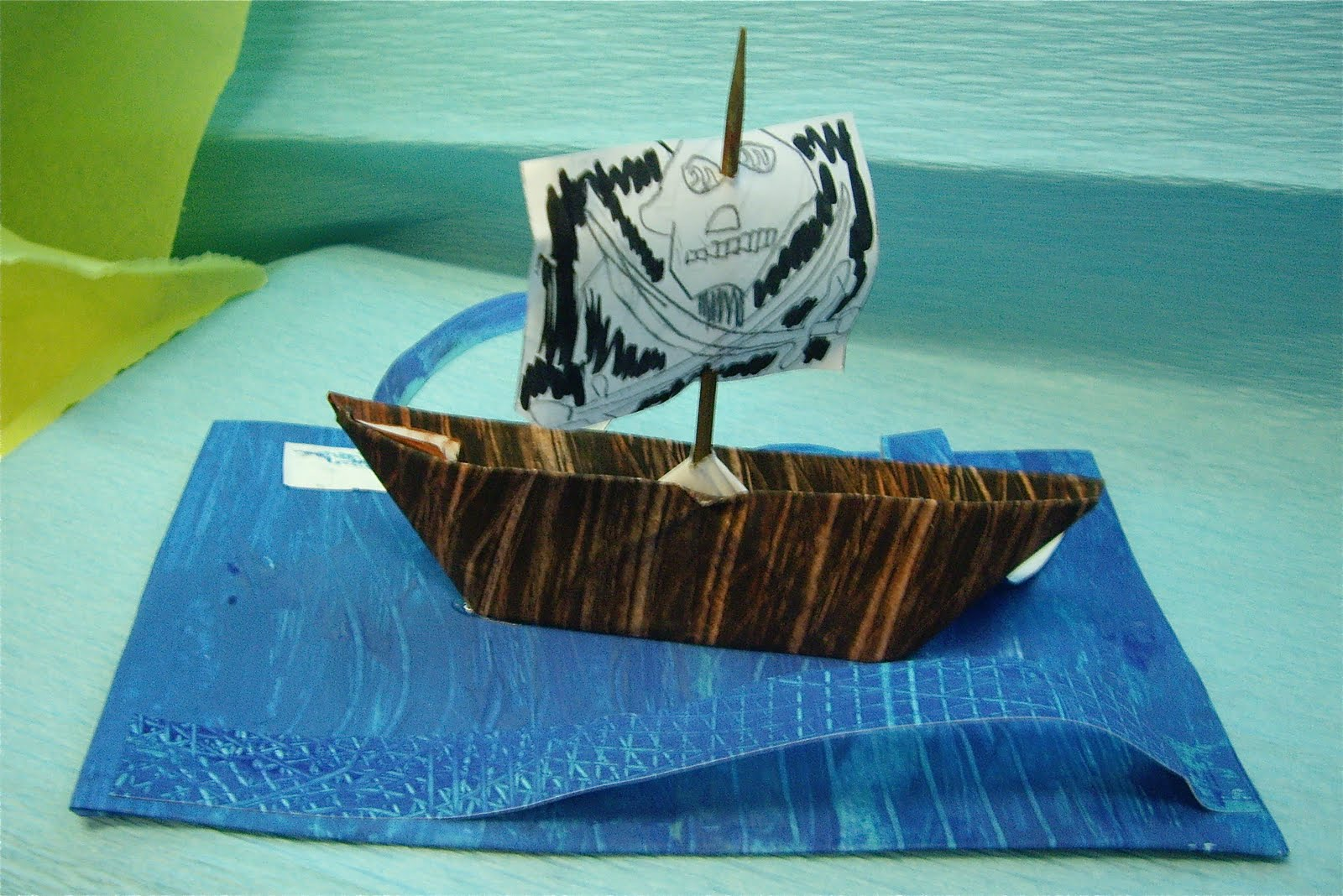 Use your coloured pencils paper pirate ships for Cardboard pirate ship template