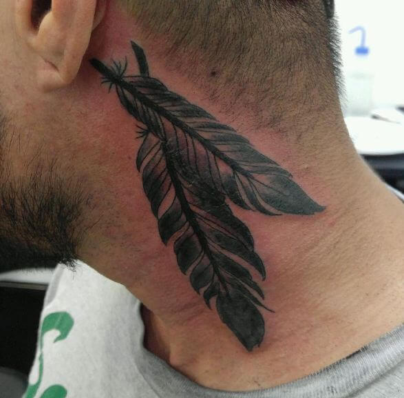 50 feather tattoo designs with meaning 2018 for Phoenix neck tattoo