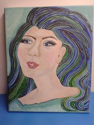 portret kobieta malowant ręcznie farba akcrylowa