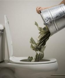 Money down the crapper