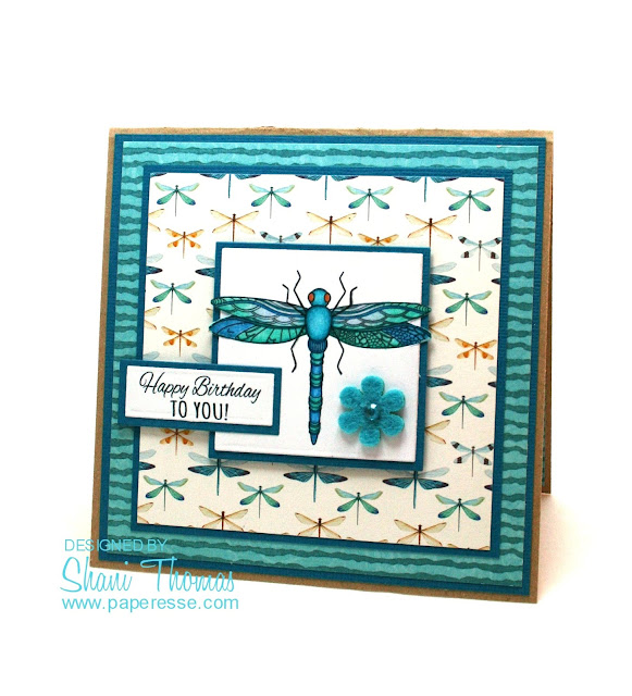 Dragonfly birthday card featuring SCP #171 digital stamp and sentiment freebie, by Paperesse.