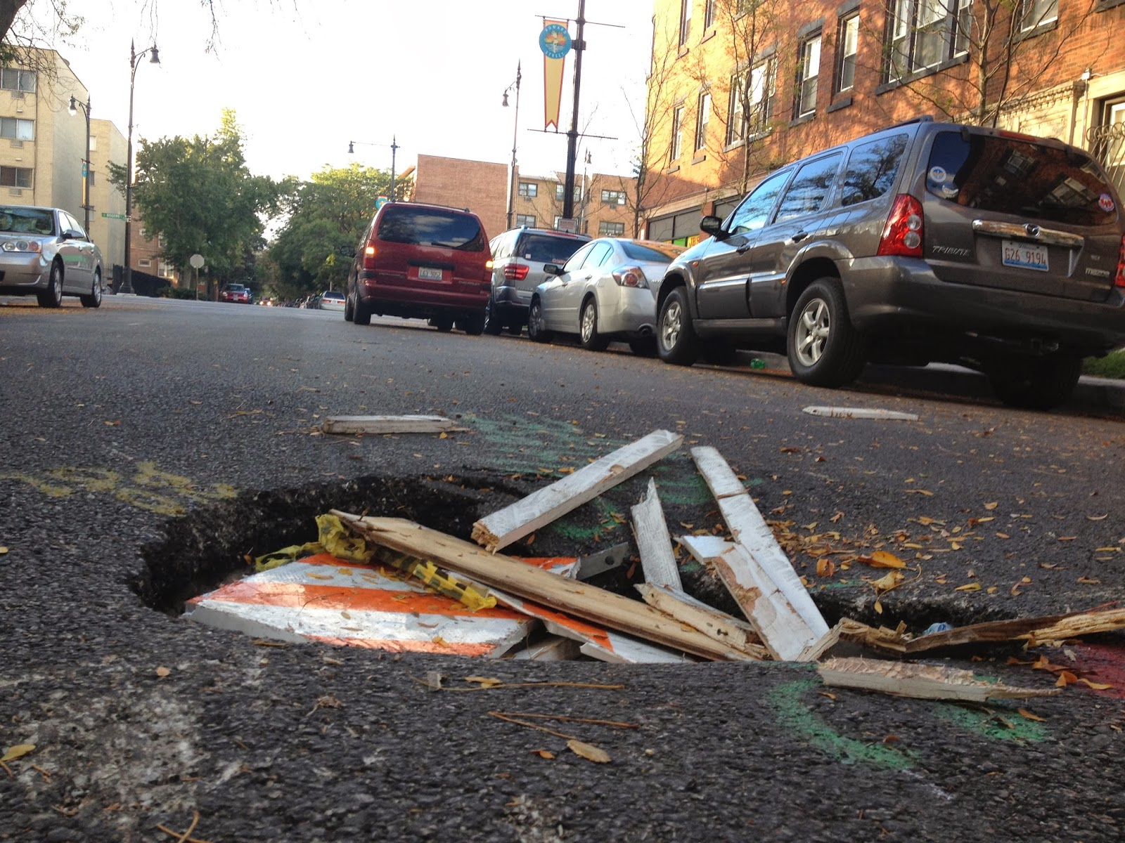 Chevanston Rogers Park: Another View Of Sink Hole @ 7609 N