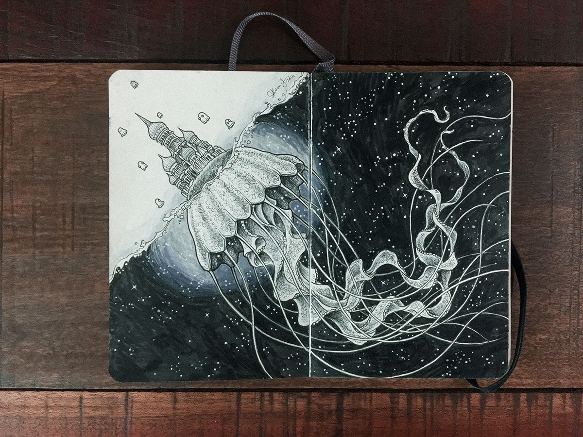 15-Underpinning-of-Architecture-Kerby-Rosanes-Detailed-Moleskine-Doodles-with-many-Whales-www-designstack-co
