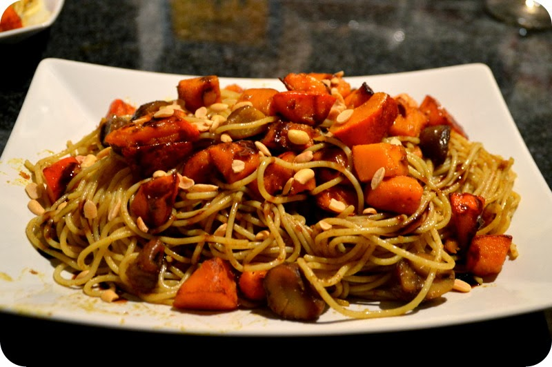 Kürbis-Maronen- Spaghetti