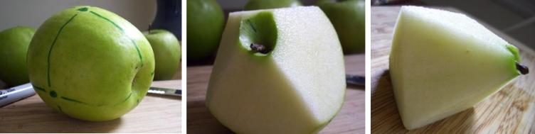 Sólidos platônicos esculpidos em maçãs