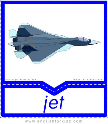 jet, transportation in English vocabulary flashcards