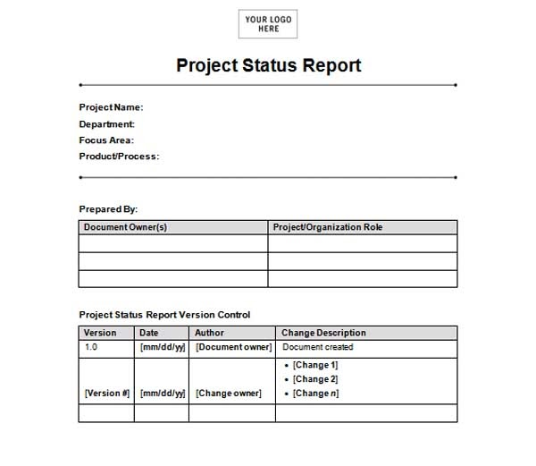 Microsoft word templates free project status report template for Ms word templates for project report