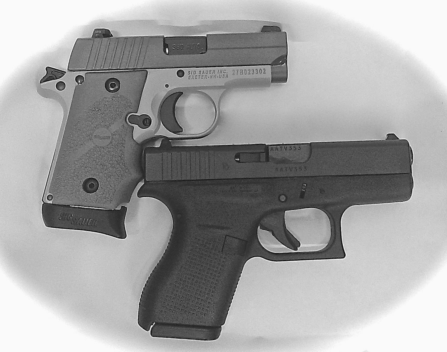 hight resolution of glock model 42 and sig p238 pocket sized 380 s