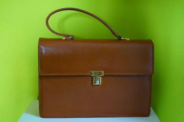 70s 1970s brown leather bag handbag sac cuir fauve années 70