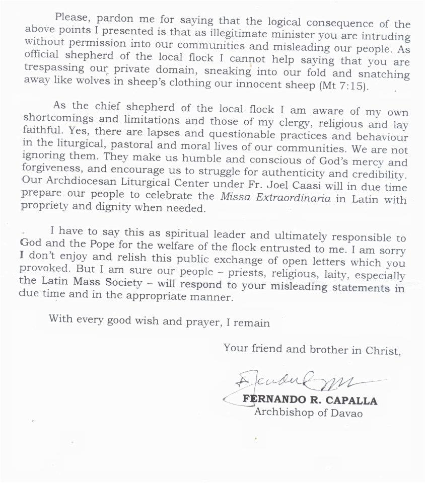 Rorate Cli A Filipino Archdiocese To The Sspx You Remain