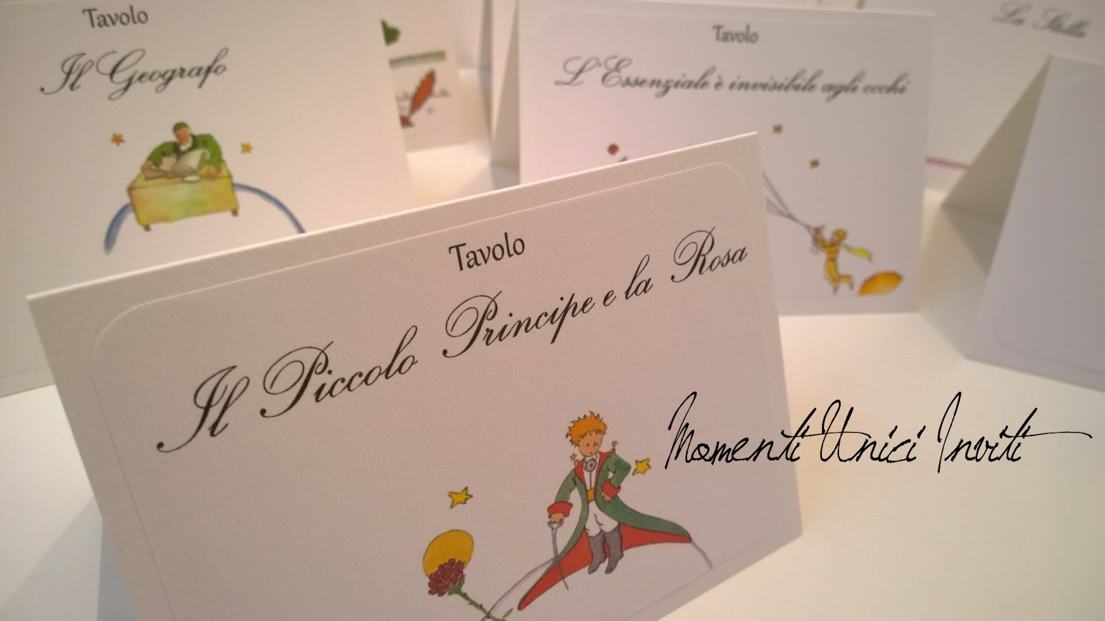 Matrimonio Tema Piccolo Principe : I menù e il coordinato per tableau a tema piccolo principe