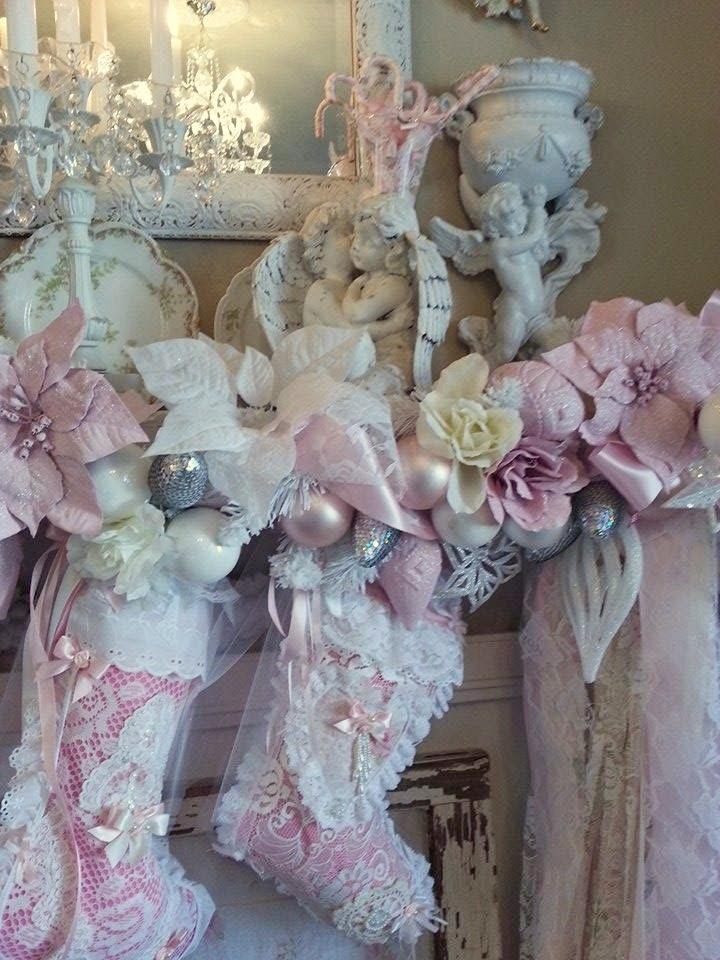 Romantic Homes Decorating: Olivia's Romantic Home: Inexpensive Pink Christmas Mantel