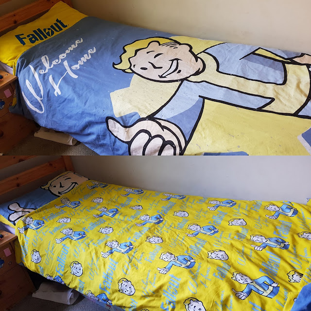 Dreamtex childrens gamer Bedding Fallout showing both sides of duvet cover and pillowcase