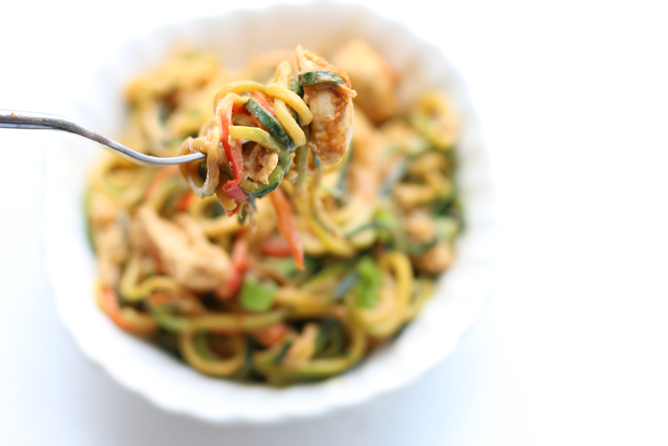 Zoodles with Chicken and Peanut Sauce - Lake Shore Lady