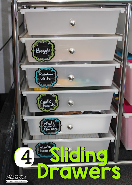 Sliding drawers can be used for so many different things in your classroom.  They are great for organizing center materials.  They are also great for having your weekly copies organized and ready to go.