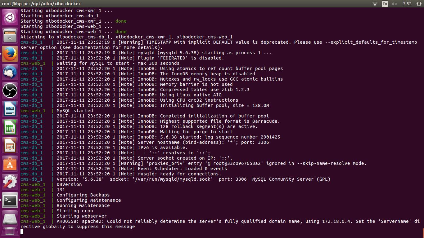 Pasang XIBO pada ubuntu 16 04, nota ikut step dari real forum