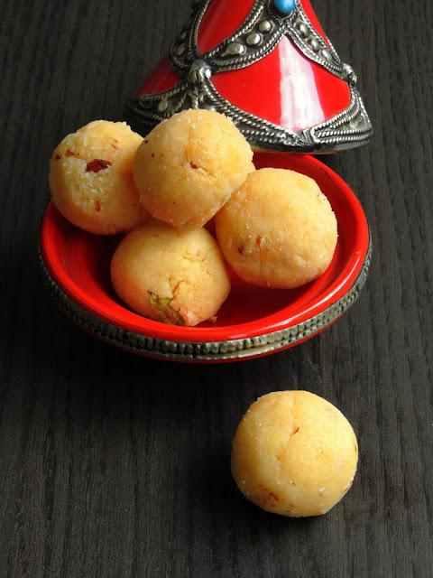 Mawa Coconut Laddoos, Unsweetened Khoya Laddoos