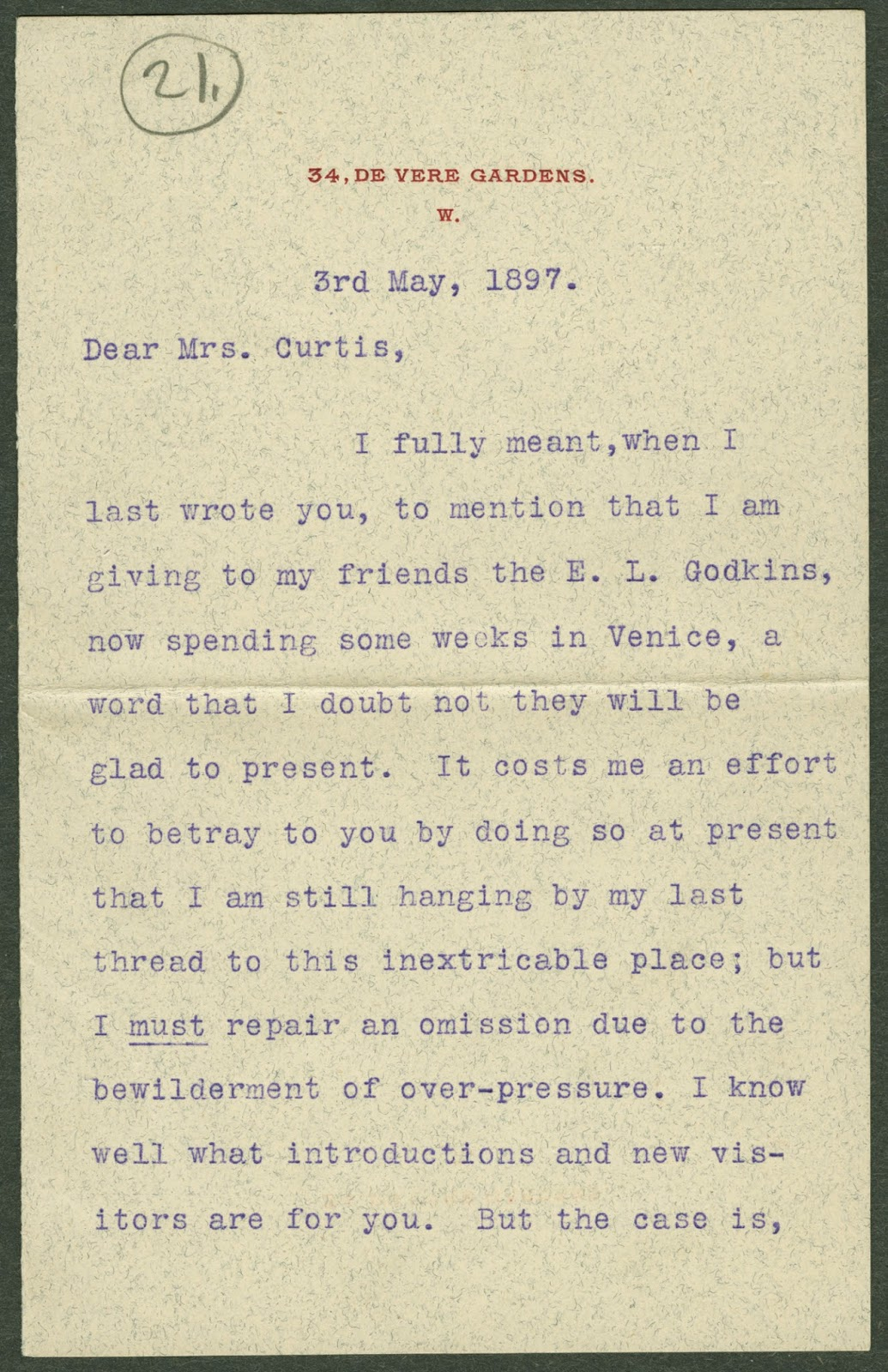 A typed letter from Henry James.