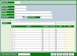 Aplikasi Excel Nota Pencairan Dana dan SPTJB