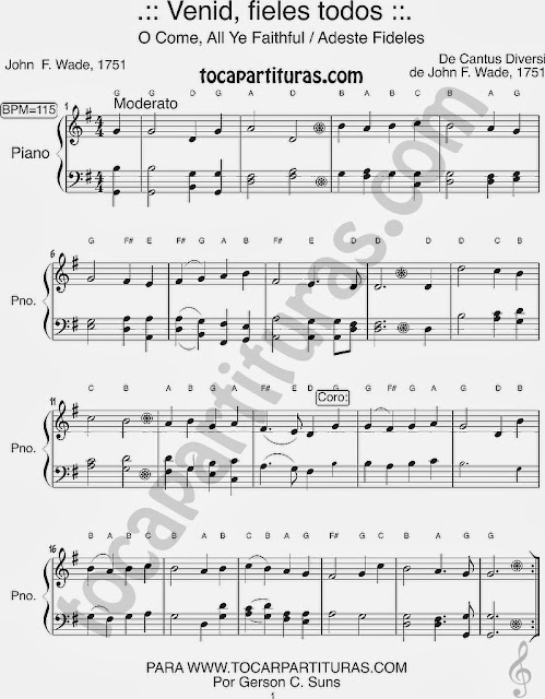 Easy Sheet Music Adeste Fideles for Beginners Piano in G Major Come Faiths Fácil