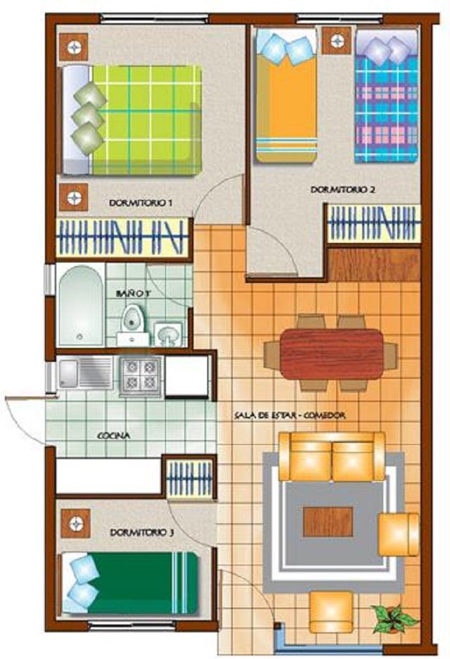 Plano de casa de un piso con tres dormitorios planos de for Planos de casas de tres dormitorios en una planta