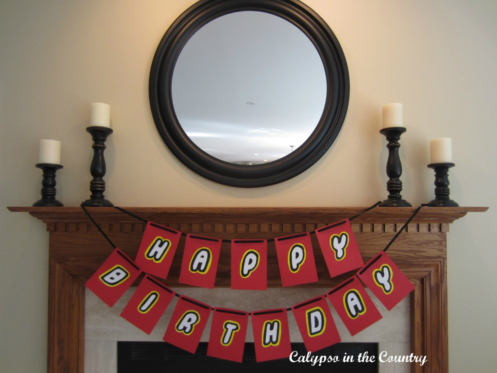 Lego Party Decor - Homemade Banner for the Mantel