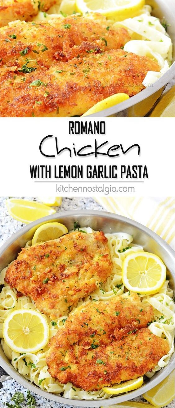 Romano Chicken with Lemon Garlic Pasta