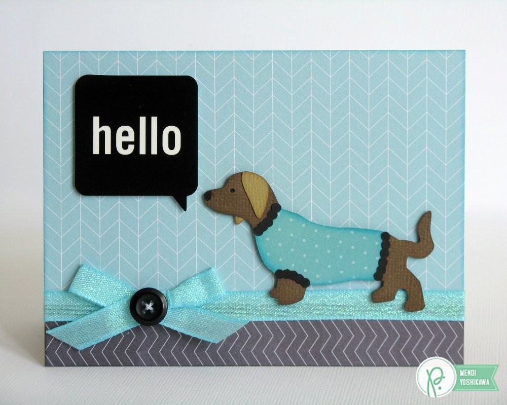 Pebbles Inc. Home+made Dog in Sweater Hello Card by Mendi Yoshikawa