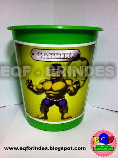 Baldinho de Pipoca Para Centro de Mesa Hulk Kid, Lembrancinha Hulk Kid, Tema Hulk Kid, Festa Hulk Kid, Brinde Hulk Kid