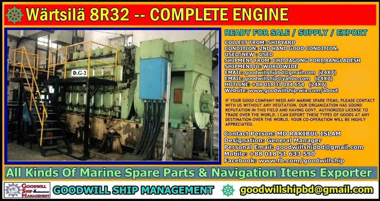 Worldwide Marine Spare Parts Exporter: Wärtsilä 8R32 -- COMPLETE ENGINE