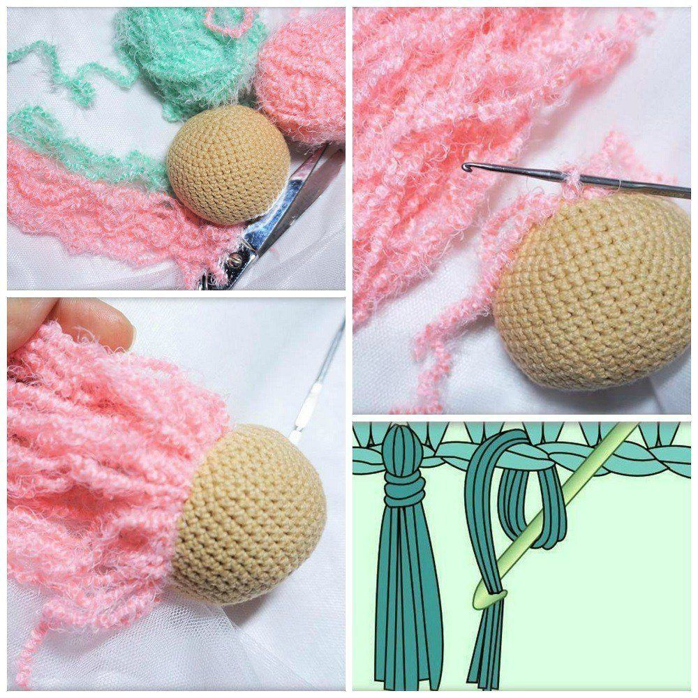 How to Attach Hair to a Crochet Doll - thefriendlyredfox.com | 1000x1000