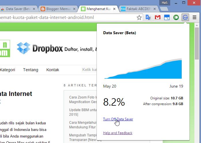 Menghemat kuota internet dengan Chrome Data Saver