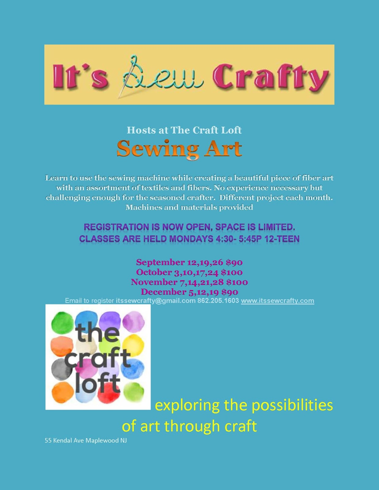 It 39 s sew crafty sewing art classes at the craft loft for Craft classes long island