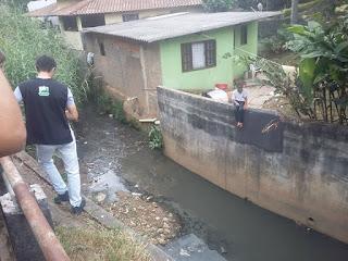 Casas construidas encima do leito do Rio e muito esgoto