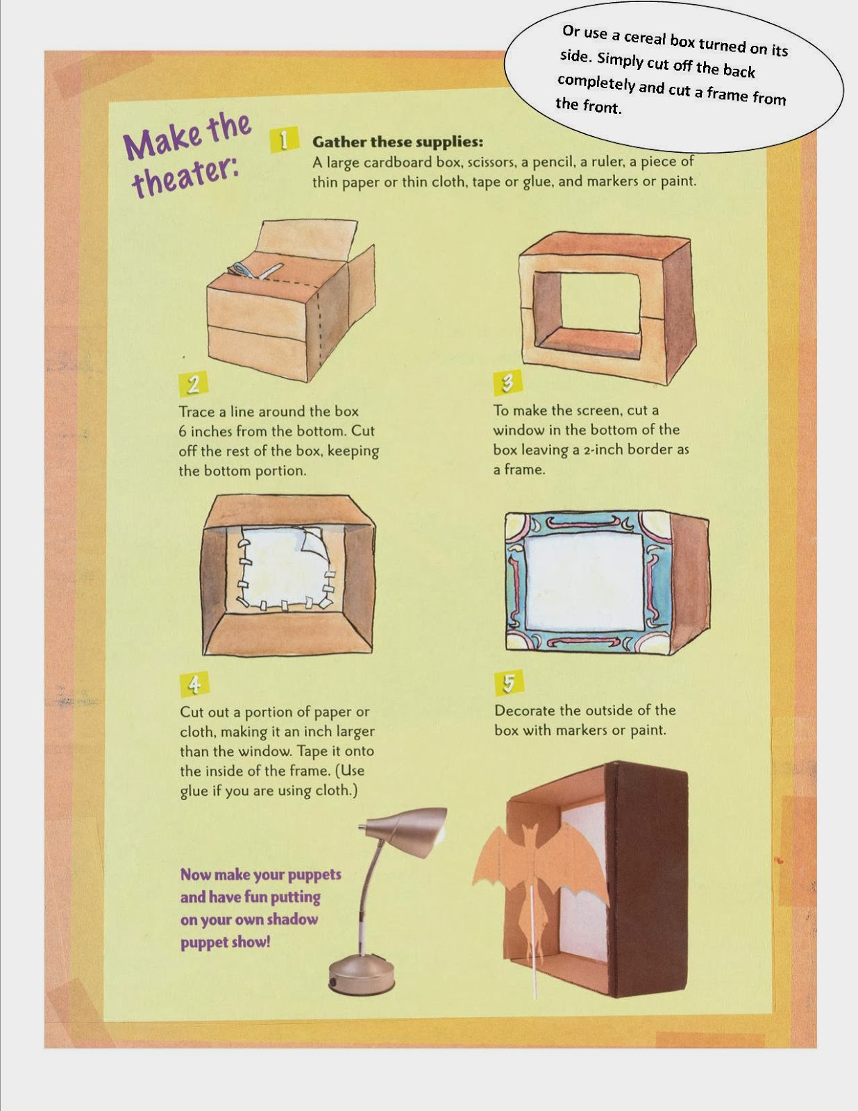 how to make a puppet theater out of paper