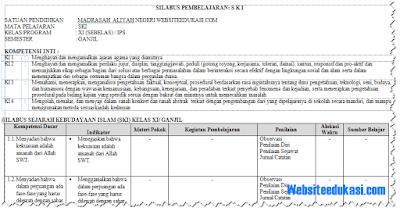Silabus Sejarah Budaya Islam Kelas 11 Kurikulum 2013 Revisi 2018