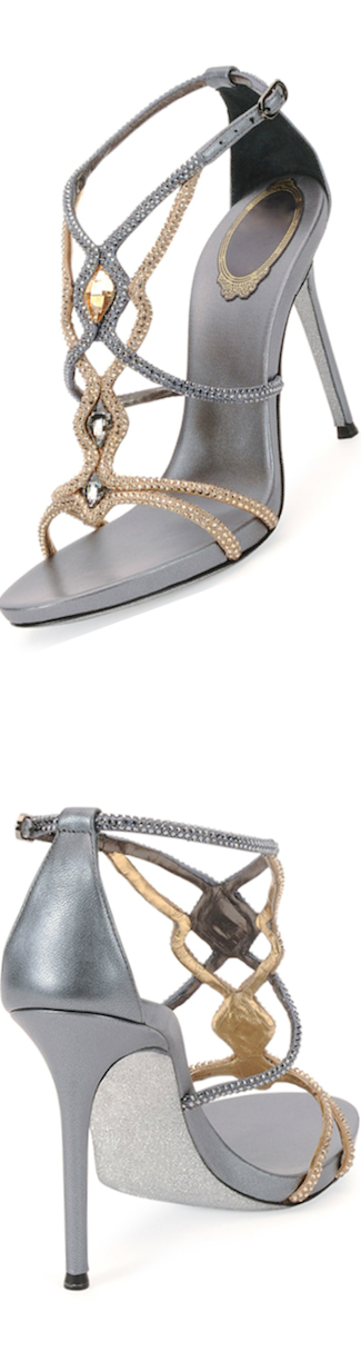 Rene Caovilla Two-Tone Jeweled Sandal gray brown