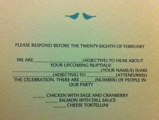 Wedding Wednesday Mad Libs Rsvp Cards