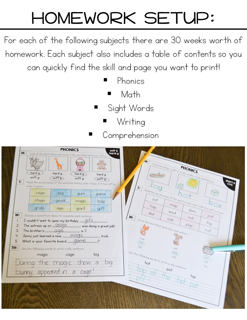 Workbooks understatement worksheets : First Grade Homework for the Year! | Blog Hoppin' | Bloglovin'