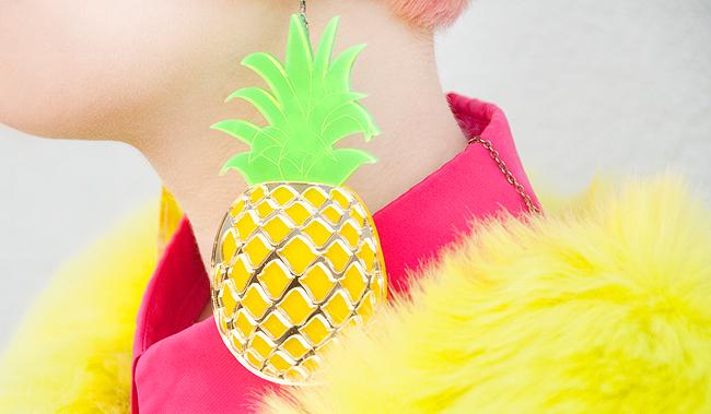 Marina Fine, pineapple earrings, perspex jewellery